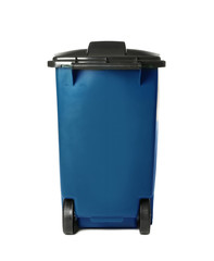Trash bin isolated on white. Waste recycling