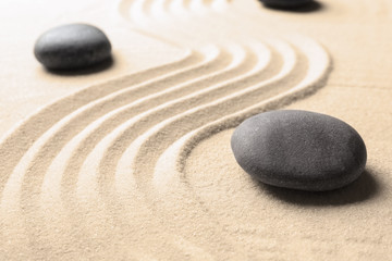 Acrylic Prints Stones in Sand Zen garden stones on sand with pattern. Meditation and harmony