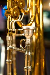Valve Trombone Focus on Mouthpiece