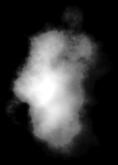 Cloud - white, single, isolated on black background