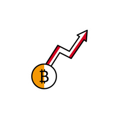 bitcoin, cryptocurrency, arrow, up icon. Element of color finance. Premium quality graphic design icon. Signs and symbols collection icon for websites