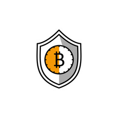 bitcoin, cryptocurrency, shield, security icon. Element of color finance. Premium quality graphic design icon. Signs and symbols collection icon for websites