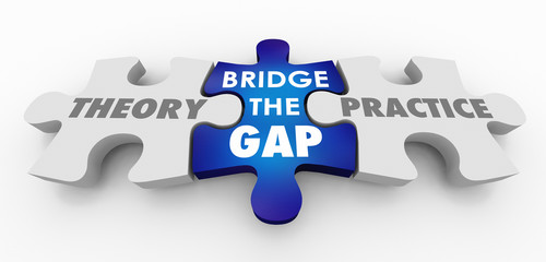 Theory Vs Practice Bridge the Gap Puzzle Pieces 3d Illustration Wall mural