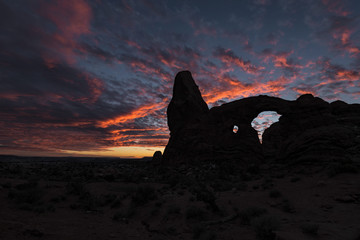 sunset over turret arch