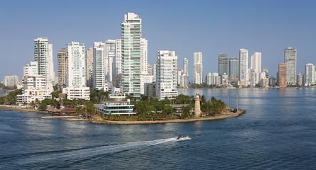 Cartagena, Columbia, January 2018. Sea view on Caribbean cost, skyline.