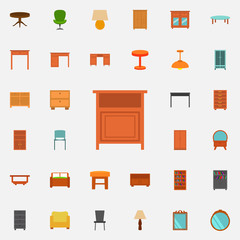 nightstand flat icon. Furniture icons universal set for web and mobile
