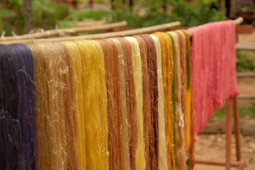 Silk thread hanging for the sun in country of asia