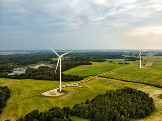 Aerial view of wind turbines generating power, located in Lithuania.