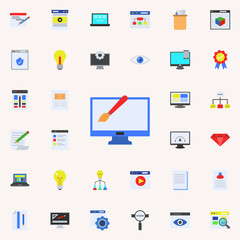 electronic drawing colored icon. Programming sticker icons universal set for web and mobile