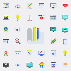 drawing accessories colored icon. Programming sticker icons universal set for web and mobile