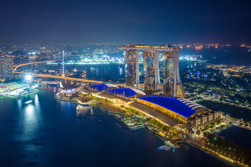 skyline of marina bay in singapore at night