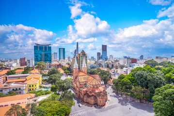 Aerial view of Notre-Dame Cathedral Basilica of Saigon