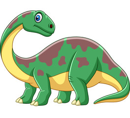 Cartoon smiling brontosaurus
