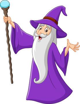 Cartoon old wizard holding magic stick