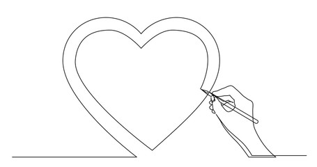 hand drawing concept sketch of heart symbol