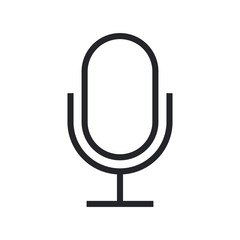 Microphone outline icon, modern minimal flat design style, vector illustration