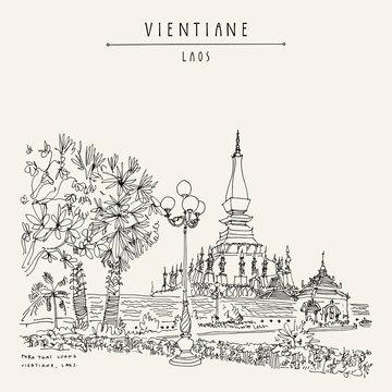 Vientiane, Laos, Southeast Asia. Vintage hand drawn touristic postcard in vector