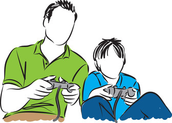 father and son playing video illustration