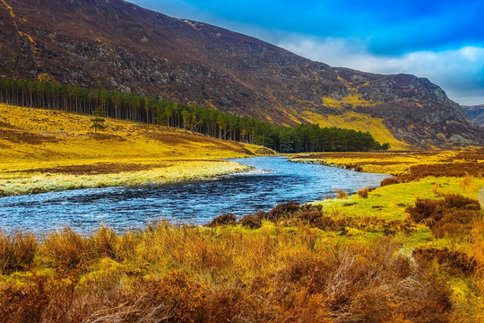 Cairngorms National Park and Water of Mark. Angus, Scotland, United Kingdom.