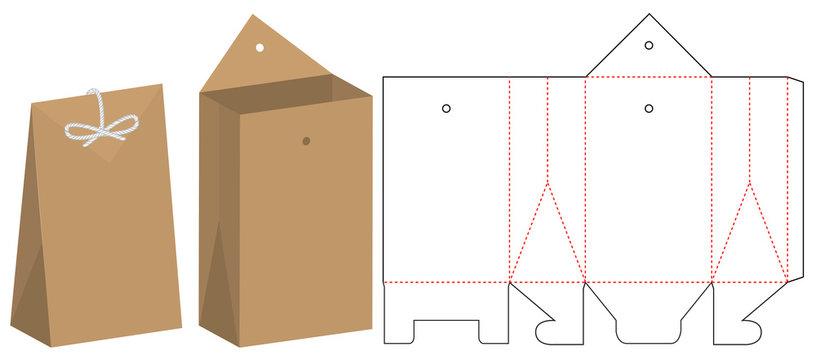 Paper Bag packaging die cut template design. 3d mock-up