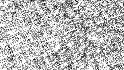 Wire-frame City, Blueprint Style