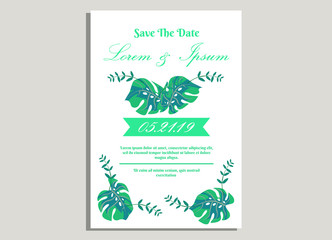 weeding invitation 10, romantic style with rose flower  and monstera background