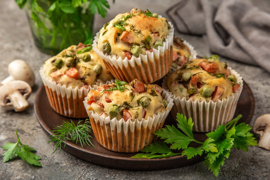 savory muffins with mushroom,  vegetables and herbs