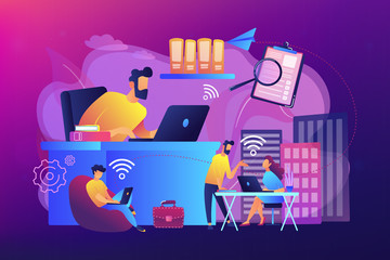Businessmen use workspace with Wi-Fi reserved on-demand for work, meeting. On-demand workspace, dedicated meeting room, business workspace concept. Bright vibrant violet vector isolated illustration