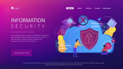Man holding security shield and developer using laptop. Data and applications protection, network and information security, safe cloud storage concept, violet palette. Website landing web page