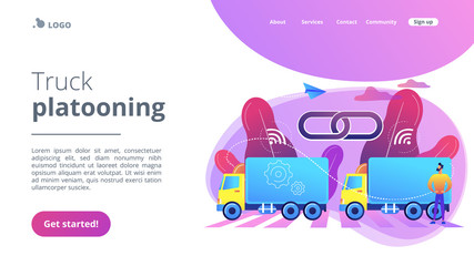 Trucks connected into platoon with connectivity technologies. Truck platooning, autonomous driving trucks, modern logistics technology concept. Website vibrant violet landing web page template.