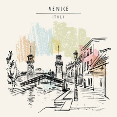 Entrance to the Arsenale in Venice, Italy, Europe. Vector hand drawn vintage touristic postcard