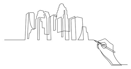 hand drawing business concept sketch of big city skyline