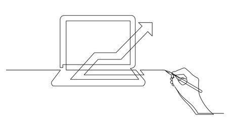 hand drawing business concept sketch of laptop computer with rising chart arrow