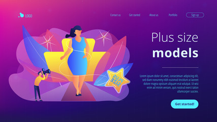Photographer taking photos of plus size model in runway fashion show. Plus size models, body positive fashion, plus-size clothing modeling concept. Website vibrant violet landing web page template.