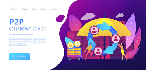 Individuals pool their premiums together to insure against a risk. Peer-to-Peer insurance, P2P collaborative risk, new social insurance concept. Website vibrant violet landing web page template.