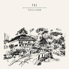 Northern Thai paradise. Pai, Thailand. Travel hand drawn vintage artistic postcard
