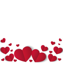 Many red papper hearts isolated on white background. Symbol of love. Design element for Valentine s day.
