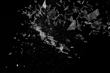 Clear Broken glass and particles thrown