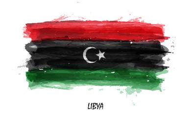 Realistic watercolor painting flag of Libya . Vector