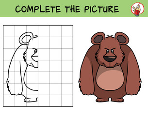 Complete the picture of a bear. Copy the picture. Coloring book. Educational game for children. Cartoon vector illustration