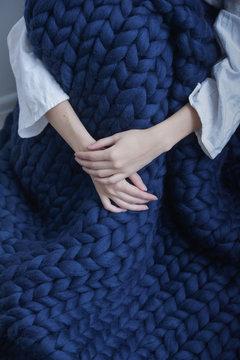 Cozy Hugge rug in the interior, Scandinavian style, Merino wool handmade, Women's hands