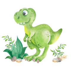 Watercolor illustration with cute dinosaur