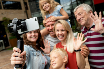 Family recording a video clip