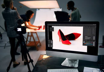 Product photography shoot of shoes Wall mural