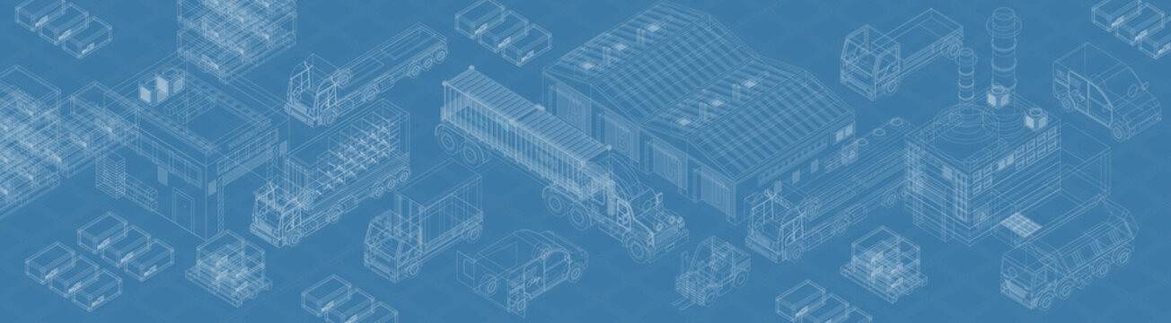Blueprint of modern types of freight delivery and warehouses