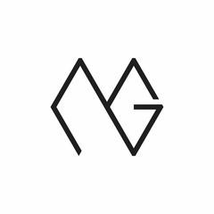 Fototapeta abstract letter mg simple line logo vector obraz