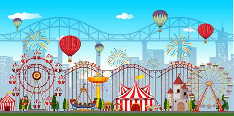 An amusement park background