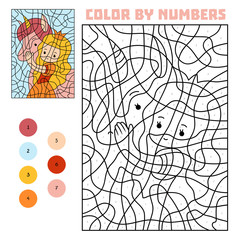 Color by number, Princess and unicorn