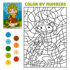 Color by number, education game, Gnome and mushroom