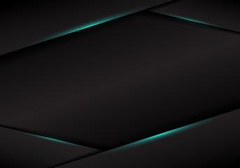 Abstract template black frame layout metallic blue light on dark background.